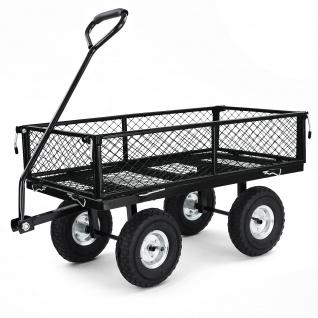 Transport Gitterwagen Handwagen Bollerwagen Seiten klappbar bis 250kg Schwarz