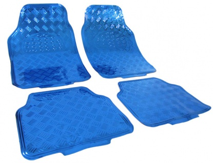 Design Fußmatten universal Alu Riffelblech Optik chrom blau