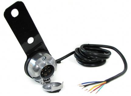 7-polige 12V KFZ Auto Anhänger Trailer Alu Steckdose mit 2 m Kabel und Halterung