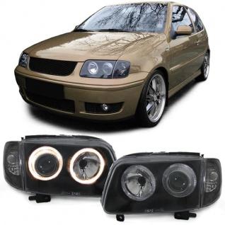 Klarglas Angel Eyes Scheinwerfer H7 H7 mit Blinker schwarz für VW Polo 6N2 99-01