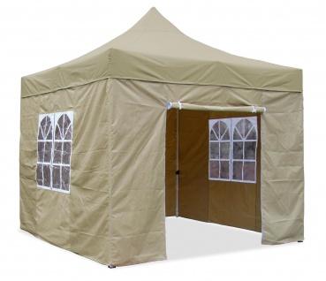 Premium Garten Falt Pavillion Party Zelt mit 4 Seitenwänden 2 Fenster 3x3m Beige