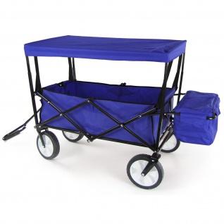 Bollerwagen Faltbar Handwagen Klappbar Transportkarre Strandwagen Dach Blau