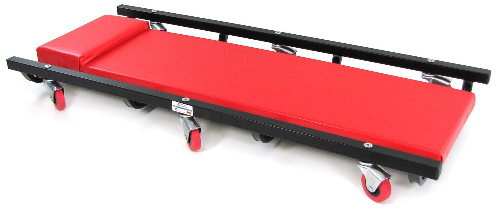 ramroxx profi kfz werkstatt rollbrett montage liege gepolstert 100cm rot  schwarz
