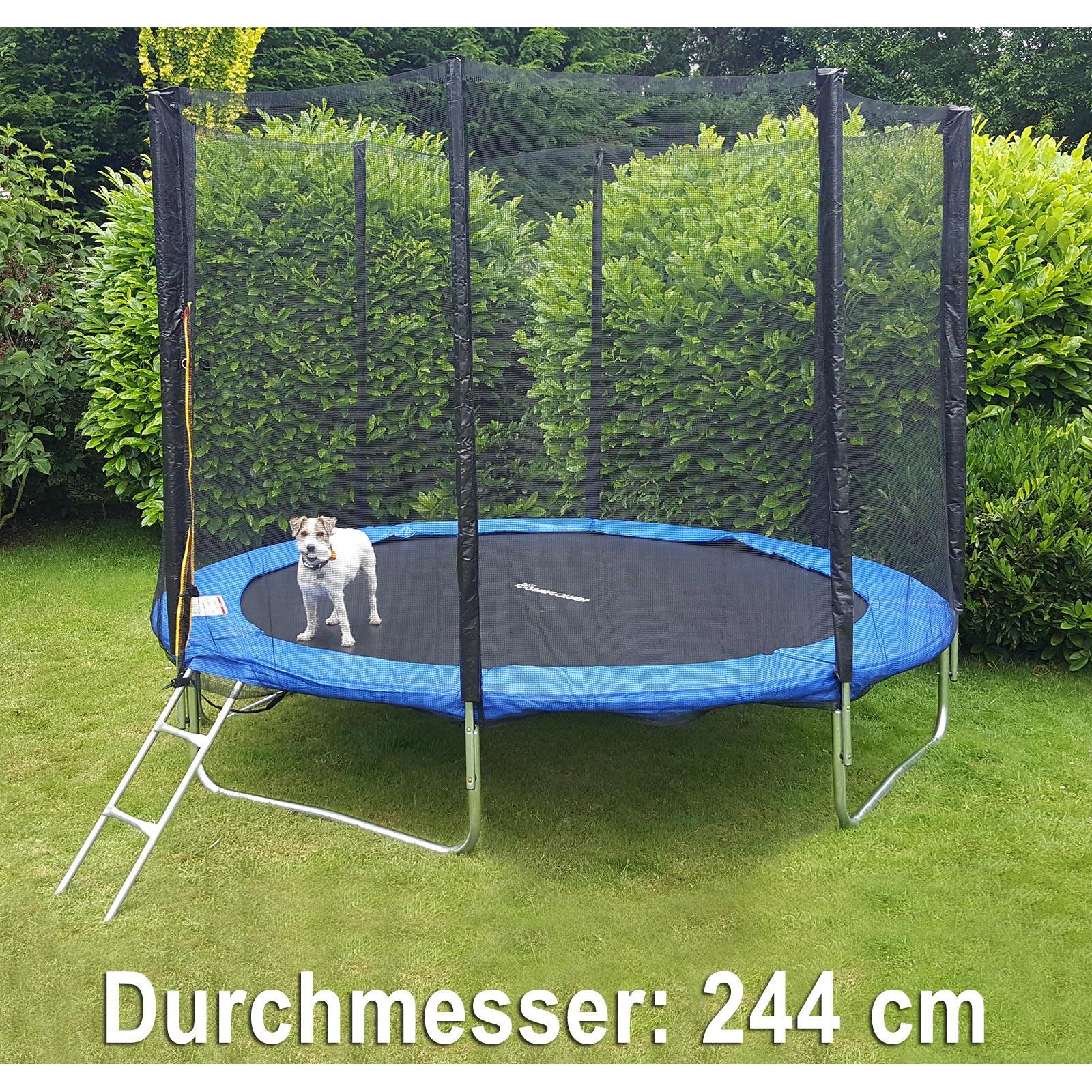 trampolin 244 cm komplett mit leiter und sicherheitsnetz blau kaufen bei carparts online gmbh. Black Bedroom Furniture Sets. Home Design Ideas