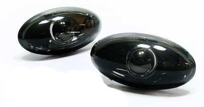 Klarglas Seitenblinker schwarz black chrom für Peugeot 107 206 SW CC 307 407 607