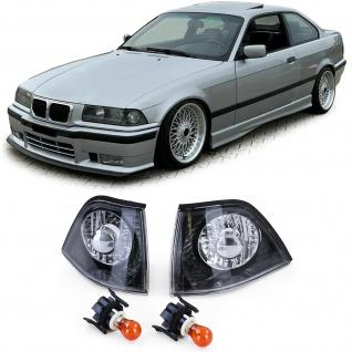 Klarglas Blinker Schwarz Chrom Paar für BMW 3er E36 Coupe Cabrio 90-99