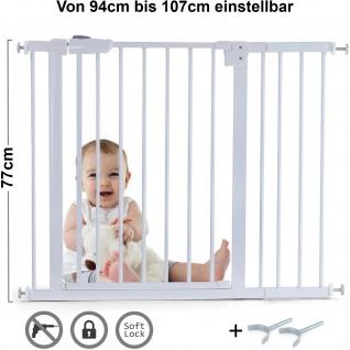 Absperrgitter Treppenschutzgitter Metall weiß + Y Halter 94 -107cm 77cm hoch