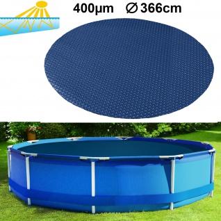 400µm Pool Solarplane Poolheizung Solarfolie Abdeckung Rund Blau Schwarz 366cm