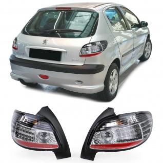 LED Klarglas Rückleuchten Schwarz Chrom Paar für Peugeot 206 3+5türer ab 98