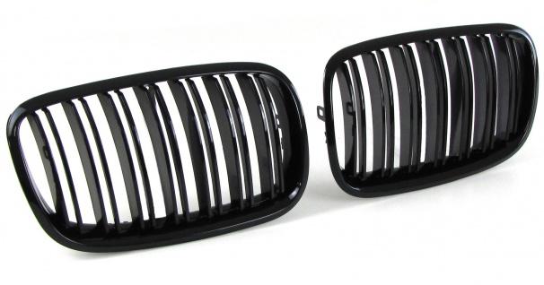 *** Sport Kühlergrill Nieren Doppelsteg schwarz glänzend für BMW X5 E70 X6 E71 ab 06