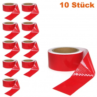 10x Signal Warn Absperr Band PVC selbstklebend reflektierend rot 5cmx10m