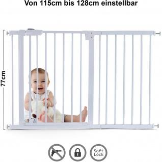 Absperrgitter Treppenschutzgitter Metall weiß 115 -128cm 77cm hoch