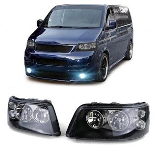 Klarglas H7 H1 Scheinwerfer schwarz mit LWR Motor Paar für VW Bus T5 03-09