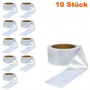10x Signal Warn Absperr Band PVC selbstklebend reflektierend weiß 5cmx10m