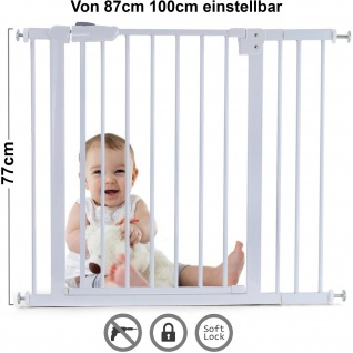 Absperrgitter Treppenschutzgitter Metall weiß verstellbar 87 -100cm 77cm hoch