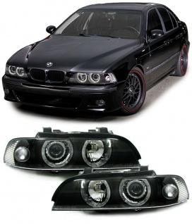 H7 H1 Scheinwerfer Angel Eyes schwarz für BMW 5er E39 95-00