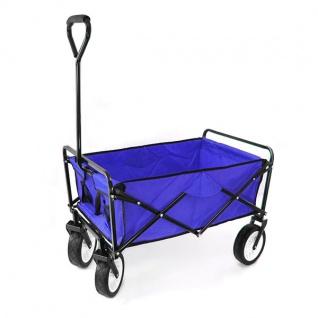 Garten Transport Faltwagen Handwagen Bollerwagen klappbar bis 80kg blau - Vorschau 2