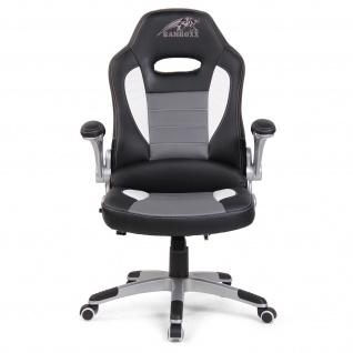 RAMROXX Gamingstuhl Bürostuhl Schreibtischstuhl Sportsitz Schwarz Grau