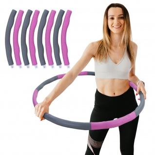 Hula Hoop Fitness Reifen 8 Teile gepolstert Durchmesser einstellbar Grau Pink