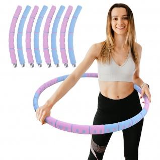 Hula Hoop Fitness Reifen Edelstahl 8 Teile gepolstert befüllbar Pink Blau