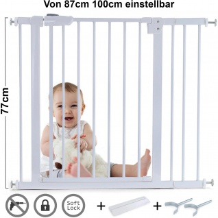 Absperrgitter Treppenschutzgitter Metall + Rampe + Y Halter 87 -100cm 77cm hoch