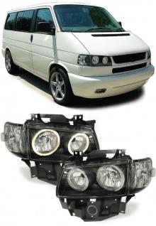 Angel Eyes Scheinwerfer + Blinker schwarz für VW Bus T4 Caravelle Multivan ab 96