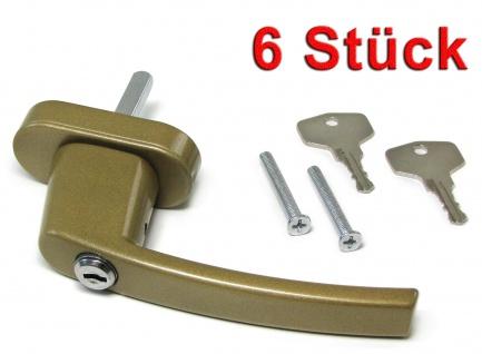 Sicherheits Fenstergriff Griffe abschließbar aus Metall gold 6 Stück
