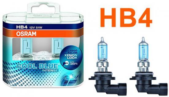 Osram Cool Blue Intense HB4 55W 12v Halogen 2 Stück IM Duopack
