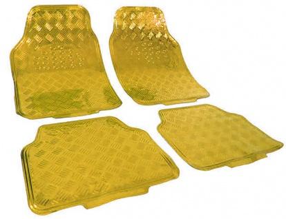 Auto Gummi Fußmatten universal Alu Riffelblech Optik chrom gold Gelb