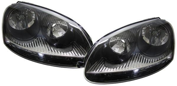 SCHWARZE GTI SCHEINWERFER SET FÜR VW Golf 5 + Jetta 3