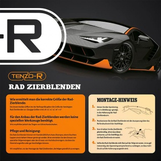 Radkappen Radzierblenden Tenzo-R X für Stahlfelgen 14 Zoll schwarz blau - Vorschau 4