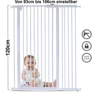 Absperrgitter Treppenschutzgitter Metall weiß verstellbar 93 -106cm 120cm hoch