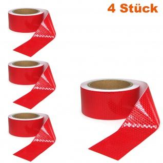 4x Signal Warn Absperr Band PVC selbstklebend reflektierend rot 5cmx10m