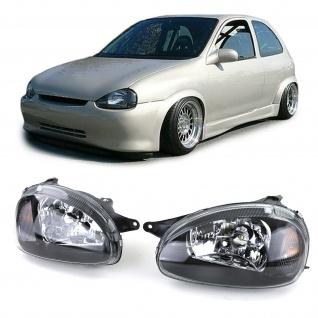 Klarglas Scheinwerfer schwarz für LWR für Opel Corsa B 93-00