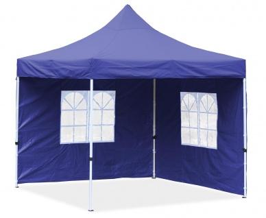 Premium Garten Falt Pavillion Party Zelt mit 2 Seitenwänden 2 Fenster 3x3m blau