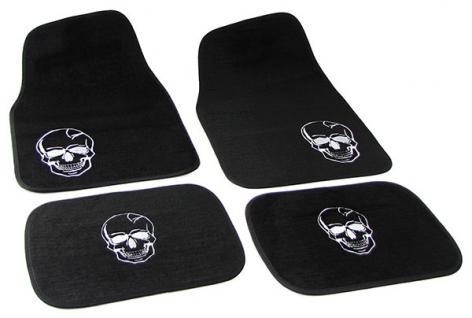 Universal PKW KFZ Auto Fußmatten Totenkopf schwarz Set 4-teilig - Vorschau 2