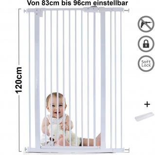 Absperrgitter Treppenschutzgitter Metall weiß + Rampe 83 - 96cm 120cm hoch