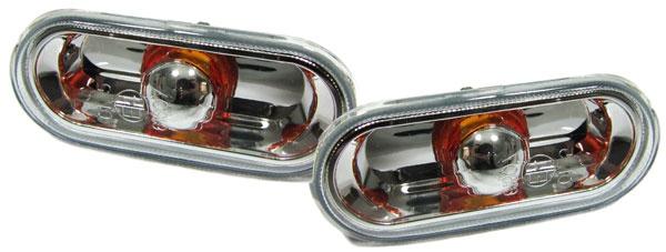 Klarglas Seitenblinker chrom für VW Amarok + T5 Bus