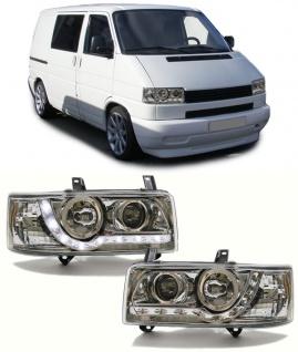 Scheinwerfer mit LED Tagfahrlicht Optik chrom für VW Bus Transporter T4 90-03