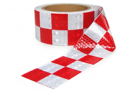 Signal Warn Absperr Band PVC selbstklebend Reflex kariert rot weiß 5cmx10m