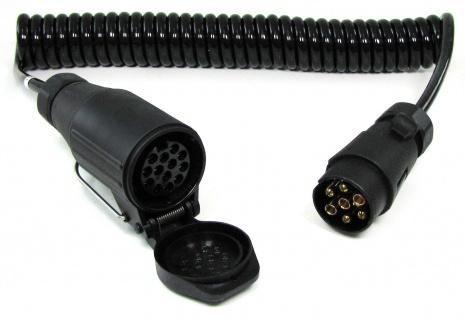 Spiralkabel Verlängerung Adapter 4 Meter 13 und 7 polig Auto Anhänger 12v