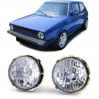 Klarglas Scheinwerfer H4 Chrom für VW Golf 1 74-83 Cabrio 83-93