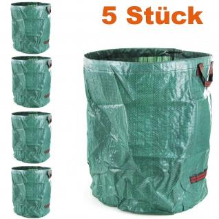 RAMROXX Gartentasche Laubsack Abfall Sack faltbar 76×67cm XXL 265L grün 5 Stück