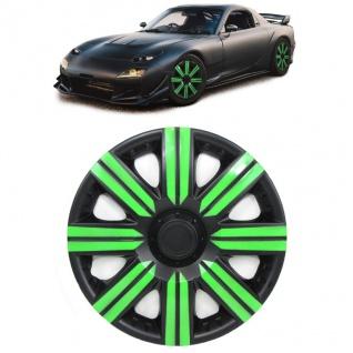 Radkappen Radzierblenden für Stahlfelgen Set Tenzo-R II 14 Zoll schwarz grün