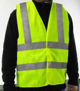 KFZ Auto Warn Sicherheits Pannen Unfall Weste DIN EN 471 mit Reflektoren Gelb