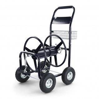 Schlauchwagen Schlauch Handwagen mit Handkurbel Schwarz bis 106m Gartenschlauch