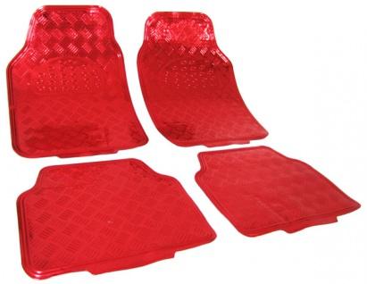 Fußmattenn universal Alu Riffelblech Optik chrom rot