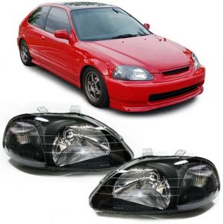 Klarglas Scheinwerfer schwarz für LWR für Honda Civic VI EJ EK 95-99