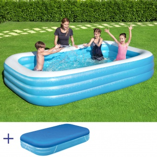 BESTWAY Family Pool Swimmingpool Rechteckig 305x183x46cm + Abdeckung