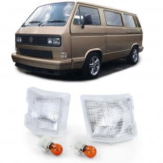 Weiße Blinker mit Leuchtmittel für VW Bus Transporter T2 T3 79-92